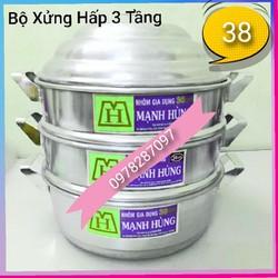 Bộ xửng hấp 3 tầng size 38 nhôm Mạnh Hùng- Hấp bánh bao/hải sản/thực phẩm...[ CHÍNH HÃNG]