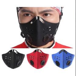 Khẩu Trang Với 2 van thở Mặt nạ bảo vệ mặt đi xe đạp + Bộ lọc Bộ lọc than hoạt tính Bộ lọc cấu trúc 5 lớp Mặt nạ miệng