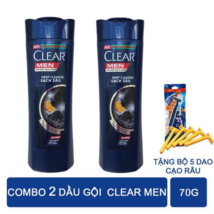 [COMBO 2] Dầu Gội Clear Men Sạch Sâu Da Đầu,Ngăn ngừa gàu hiệu quả tăng bịch 5 dao cạo râu