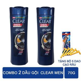 Dầu Gội Clear Men Sạch Sâu Da Đầu Ngăn ngừa gàu hiệu quả tăng bịch 5 dao cạo râu