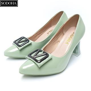 Giày cao gót đế cao 7cm đính khuy gót vuông SODOHA SDH-V359 Xanh Ngọc - SDH-V359XN thumbnail