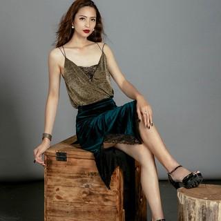 Váy Nhung SKI032 Phối Ren Thời trang thiết kế Hity (Xanh Hunter) - SKI032-XANH HUNTER thumbnail