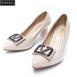 Giày cao gót nữ – giày công sở nữ -giày nữ SODOHA gót cao 7cm Màu Kem