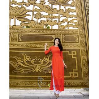 Áo dài trơn 2 tà chất liệu lụa tằm Ý cao cấp màu cam đỏ - AD2TCĐ thumbnail