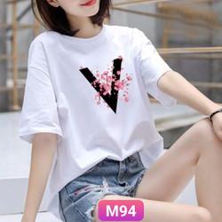 Áo phông nữ thun cotton, mịn, mát, sành điệu in chữ V M94