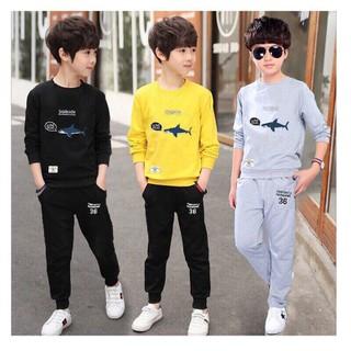 Combo 3 bộ 3 màu quần áo trẻ em thu mẫu cá mập dành cho bé trai 6-10 tuổi - 3 bộ 3 màu thumbnail