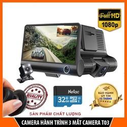 Camera hành trình ô tô 3 mắt camera T03, màn hình 4 inh full HD, ghi hình đa chiều- Mẫu mới 2021