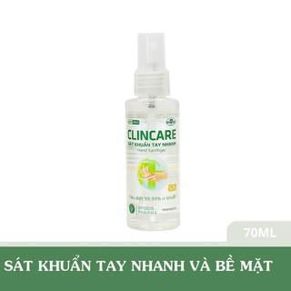 Xịt sát khuẩn nhanh tay và bề mặt vật dụng Clincare SH 70ml - CLINCARESH70 thumbnail
