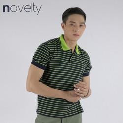 Áo thun Polo nam Novelty màu xanh đen sọc vàng ngang 180035N