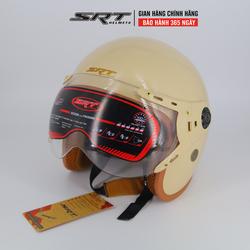 Mũ bảo hiểm 3/4 SRT 368K lót nâu, kính xử lý UV
