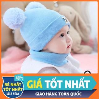 Set mũ len 2 quả bông kèm khăn cho bé yêu - MLTMCB-1 thumbnail