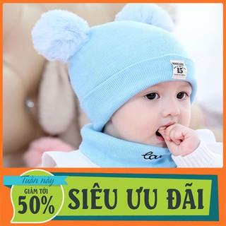 Mũ len 2 cục bông mũ len em bé mũ len kèm khăn - Nón Len - MLTMCB-1 thumbnail