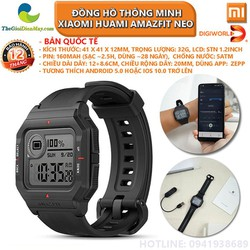 [Bản quốc tế] Đồng hồ thông minh Xiaomi Huami Amazfit Neo - Bảo hành 12 tháng - Shop Thế Giới Điện Máy