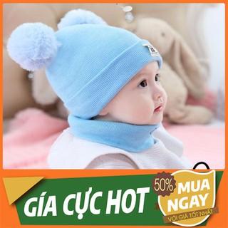 Nón len tai mèo cho bé - Sét mũ len 2 quả bông kèm khăn ống - MLTMCB-1 thumbnail