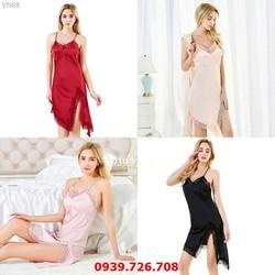 Đồ ngủ nữ - Váy đầm ngủ dáng dài xẻ tà gợi cảm chất lụa đẹp quyến rũ