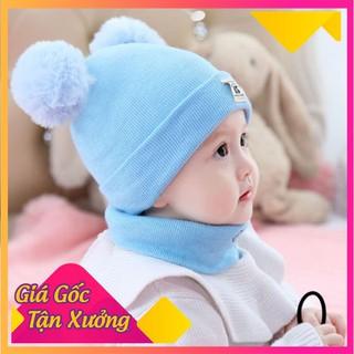 Sét mũ len 2 quả bông kèm khăn ống dễ thương cho bé - MLTMCB-1 thumbnail