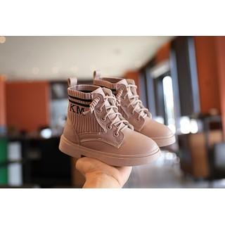 (KÈM ẢNH THẬT)Giày bốt phong cách Hàn Quốc,da kết hợp vải cho bé gái EB006 - EB006 thumbnail