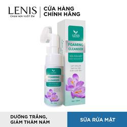 Sữa rửa mặt Lenis Foaming Cleanser Saffron Với đầu cọ massage giúp sứa sạch hơn, giúp kiểm dầu giảm mụn hiệu quả, không gây khô da