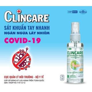 Xịt sát khuẩn tay nhanh và bề mặt vật dụng Clincare SH 70ml - clincare005 thumbnail