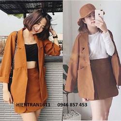 Áo Vest Blazer Nữ Màu Nâu Tây Một Lớp Style Korea Trẻ Trung Thanh Lịch  Thời Trang Công Sở Vip   Cam Kết H