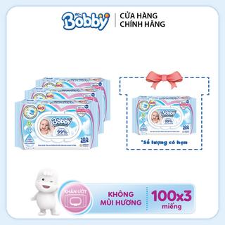 [ Tặng 1 gói khăn ướt] Combo 3 gói khăn ướt Bobby care không mùi hương 100 tờ - 8934755047411 thumbnail