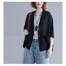 Áo vest Blazer Linen nữ dáng lửng tay lỡ 1 lớp, chất vải linen mềm mại, thời trang xuân hè