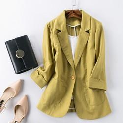 Áo vest blazer Linen nữ dáng lửng tay lỡ túi hộp, thời trang phong cách trẻ