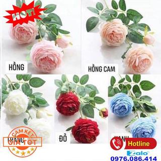 Hoa hồng lụa - hoa giả trang trí (1 cành) - Hoa hồng lụa thumbnail