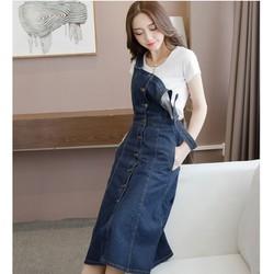 Váy yếm jean dày cài nút VYD04 - Đầm yếm suông dài