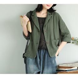 Áo vest Blazer Linen nữ 1 lớp, chất vải linen mềm mại, thời trang thu đông.