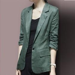 Áo vest Blazer Linen nữ dáng lửng tay chun, thời trang phong cách trẻ