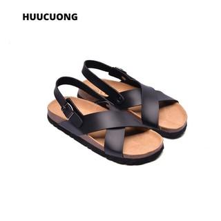 Sandal quai chéo đen đế trấu - 2154 thumbnail