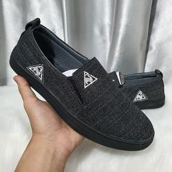 Giày Lười Vải Nam Đế Đen Siêu Êm
