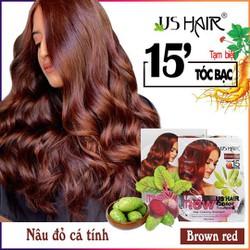 1 gói nâu đỏ ) dầu gội thảo dược phủ bạc USA US HAIR
