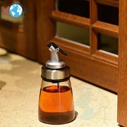 Bình, hũ đựng dầu ăn gia vị thủy tinh cao cấp 180 ml dáng LÙN có vòi chiết rót