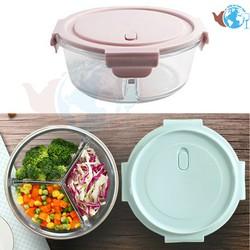 Hộp đựng cơm TRÒN 950ml 3 ngăn - hộp đựng thực phẩm dày chịu nhiệt cao cấp dùng lò viba - BX3001-3GD