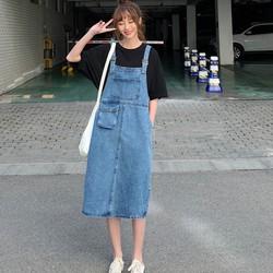 [CHẤT LƯỢNG_CÓ TRỢ PHÍ SHIP] Váy yếm jean dài túi to VYD05 - Đầm yếm jean dài cao cấp sale giá sốc