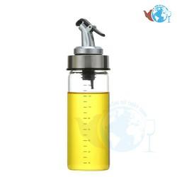 Bình, hũ đựng dầu ăn gia vị thủy tinh cao cấp 180 ml, Chai DÁNG CAO chia vạch đựng dầu ăn chiết rót