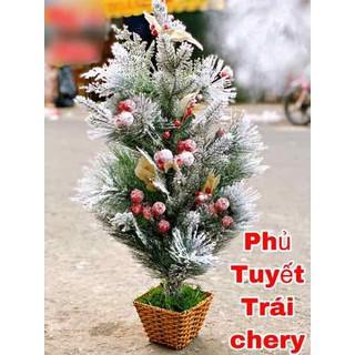 Cây thông 60 cm 6 tấc phủ tuyết trái cherry kèm đèn trang trí [ĐƯỢC KIỂM HÀNG] 37567077 - 37567077 thumbnail