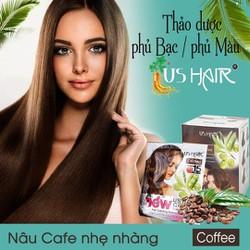 1 gói nâu cafe ) dầu gội thảo dược phủ bạc USA US HAIR