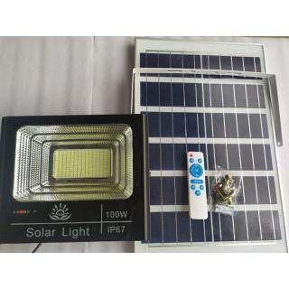 Đèn pha năng lượng mặt trời 100W nhôm có đèn hiển thị pin - 100Whiển thị pin thumbnail