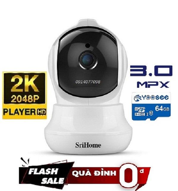 [Giảm 50k nhập EL2691] Camera Wifi Srihome Full HD 3 Megapixell 2K Tặng Thẻ 64G