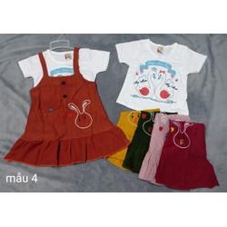 Set váy yếm kèm áo bé