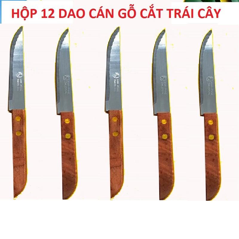 [ Xả kho ] HỘP 12 DAO cắt trái cây cán gỗ - Siêu bén