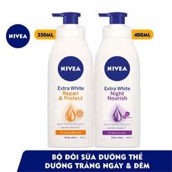 Bộ đôi Sữa dưỡng thể dưỡng trắng da ngày & đêm NIVEA (Ngày 350ml & Đêm 400ml - 88311+88126)