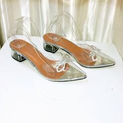 Giày cao gót quai trong đính nơ đá, đế vuông cao 4cm