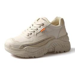 Giày thể thao nữ viền tim chữ màu trắng & kem chất da đẹp độn đế cao thời trang hàn quốc đi học đi chơi hot 2020