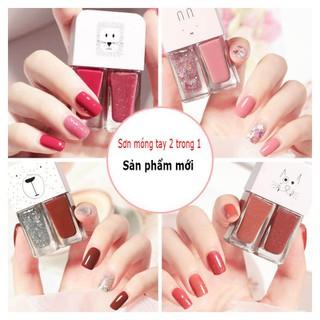 Bộ sơn móng tay SET 2 màu xinh xắn, không thấm nước, lâu trôi, phong cách Hàn Quốc - 0024 thumbnail