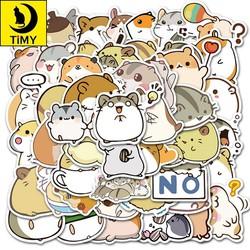 Sticker 50 miếng hình dán cute hamster