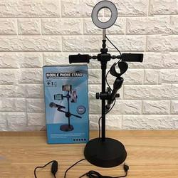 Bộ Đèn Led LiveStream 4in1 Có Chân Đỡ Micro Kẹp Hai Điện Thoại - Giá đỡ Livestream Đa Năng 4in1 Có Đèn Led